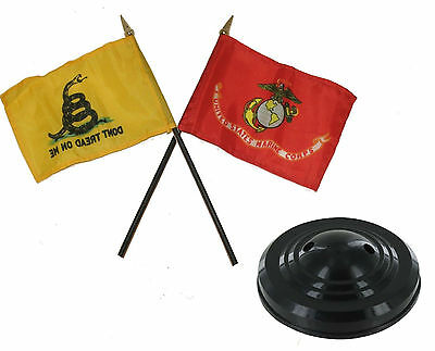 "Gadsden Black//White Don/'t Tread On Me Flag 4/""x6/"" Desk Set Table Stick Black Base"