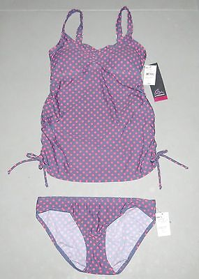 Maternity SMALL Swimsuit NEW NWT Tankini Swim Set Oh Baby Motherhood S 4 6 DOT