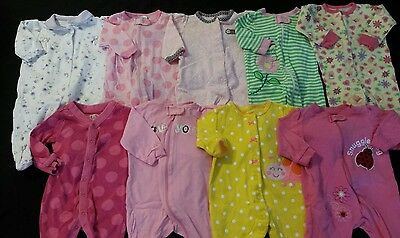 Baby Girl Size 0-3 Months Spring & Summer Clothing Lot *sleepers*