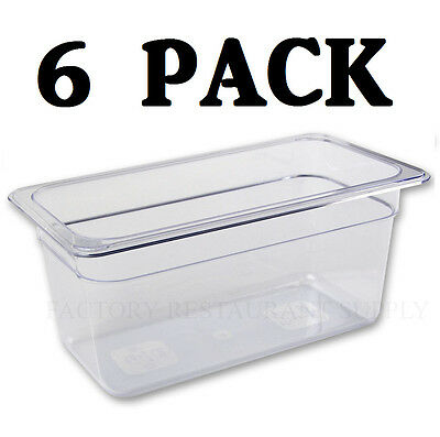 "6 PACK 1/3 Size Polycarbonate Clear Plastic Steam Prep Table Food Pan 6"" Deep"
