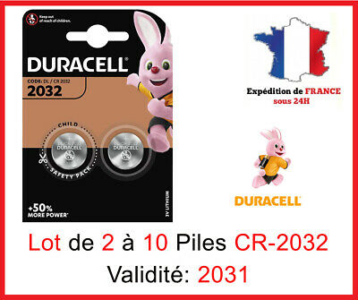 Lot de 1 à 10 Pile CR-2032 / DL-2032 DURACELL bouton Lithium 3V DLC 2025