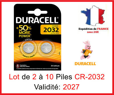 Lot de 2 à 10 Pile CR-2032 / DL-2032 DURACELL bouton Lithium 3V DLC 2027