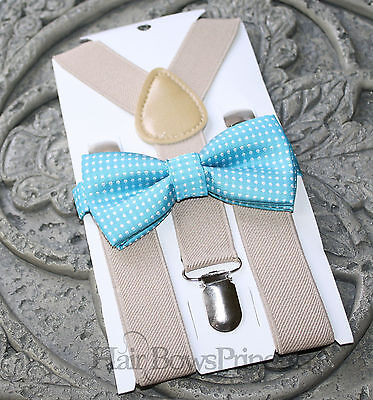 Kids Boys Baby SET  tan Suspenders aqua blue white polka bow tie 6months-5Y