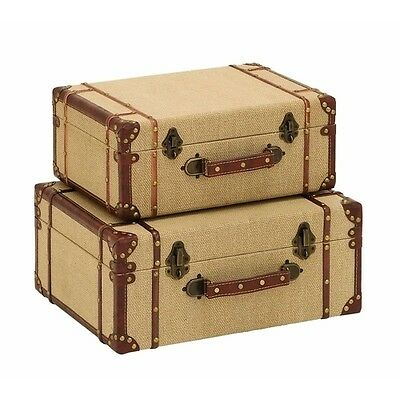 3 Of 4 Vintage Luggage Suitcases Wooden Old Look Storage Box Decorative  Suitcase NEW