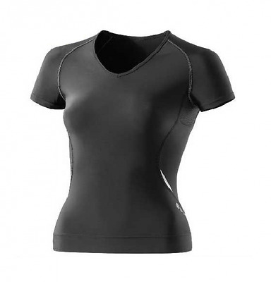 SKINS A400 Women's Short Sleeve Top with v neck black with silver Highlights - B