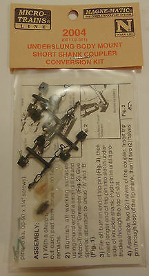 Micro-Trains 2004 N Scale Couplers Underslung Body Mount Short Shank Coupler Kit