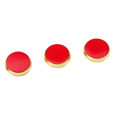 3x Gold Plated Red Stone Insert Finger Buttons for Trumpet Replacement Parts