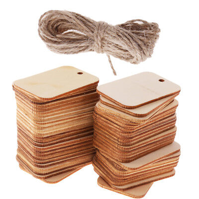 50 Wooden Label Unfinished Rectangle Blank Wood Gift Tags for Wedding Party