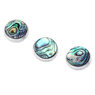3x Chrome Plated Abalone Shell Insert Finger Buttons for Trumpet Replacement