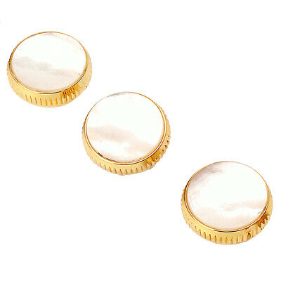 3x Gold Plated White Shell Insert Finger Buttons for Trumpet Replacement