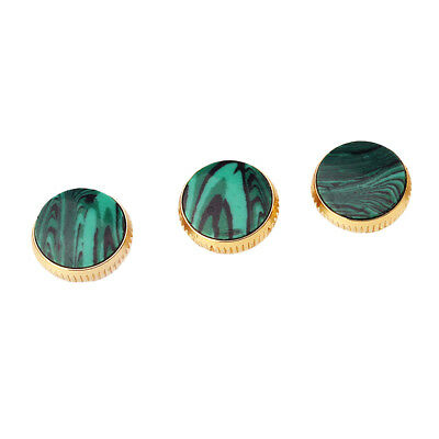 3x Gold Plated Malachite Insert Finger Buttons for Trumpet Replacement Parts