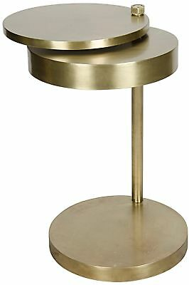"18"" Round Set of Two Side End Table Antique Brass Solid Metal Contemporary"