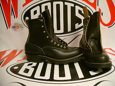 """White's Boots Lace-To-Toe Farmer Rancher Black Chromexcel 7"""" sz 9 EE"""