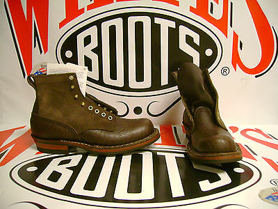 """White's Boots Farmer-Rancher Brown Roughout and Brown Bullhide 6"""" 9 D"""
