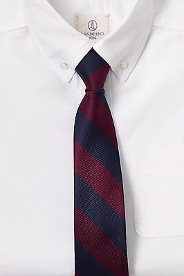 Lands' End Kids Stripe Pre Tied Tie Crimson and Navy Retail Packaging