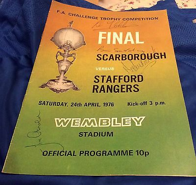 STAFFORD RANGERS v Scarborough 1976 Signed By 4 Stafford Players
