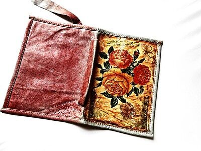 Decoupage Art Book Diary Cover Genuine Leather Vintage Pink Rose Flower Case A5