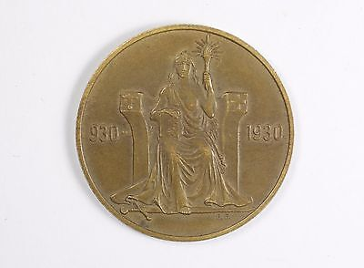 RARE - Iceland 2 Kronur 1930 1000 Years Althing Commemorative Coin
