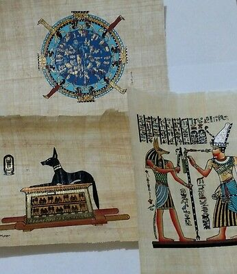 Lot of 3 Egyptian Papyrus, Anubis Proctor of Tombs 12x16 Cm Hand Painted