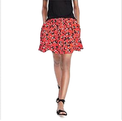 NEW Banana Republic Womens Butterfly Print Flounce Skirt Red Black S  $78 NEW