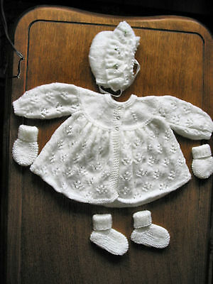soft white matinee set new 0 to 3 months hand knitted