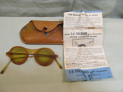 Vintage American Optical Polaroid Day Glasses with Case and Original Paper