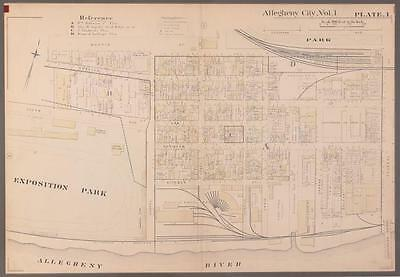 Early 1900's Pittsburgh North Shore Plot Map Allegheny City Lot 239