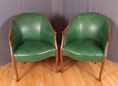 Pair of Green Leather Barrel Back Club Chairs Lot 126