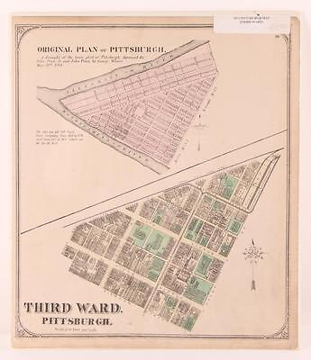 Pittsburgh Point 1872 Third Ward Plot Map Lot 240