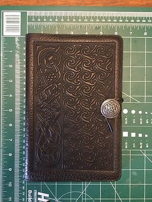 Vintage 90s Oberon Celtic Leather refillable Journal Sketch Book 6x9
