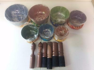 Chakra Healing Tibetan Hammered Himalayan Singing Bowl Set of 7 Meditation Bowls