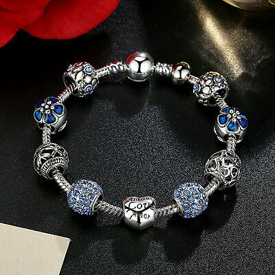 Fashion Jewelry 925 Silver Plated Charm Bracelet LOVE STORY Blue European Charm