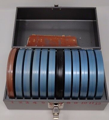 Lot of 15 vintage home movies 8mm W/2 metal Carrier/Storage Cases c1959-1970 ++