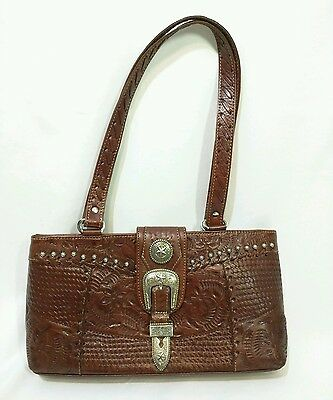 b903522474b AMERICAN WEST LARGE Red Tooled Leather Western Tote Shoulder Purse ...