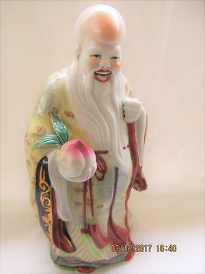 Antique Chinese Famille Rose Porcelain Shou Immortal Scholar Open Mouth 10""