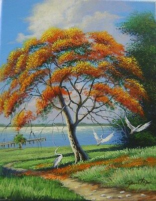 """Florida Art!! Highwaymen Style!  Painting"""" Royal Poinciana Tree On The River"""""""