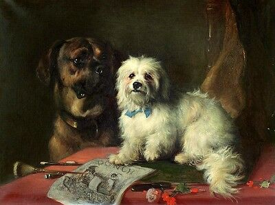 """Dream-art oil painting beautiful two dogs nice animals sitting Hand painted 36"""""""
