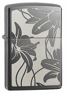 Zippo Windproof Black Ice Lighter With the Lily Flower, 29426, New In Box