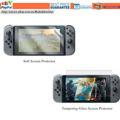 2 x Nintendo Switch Screen Protector soft & 9H Tempering Glasses protector