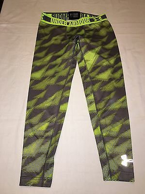 Under Armour Youth L Large Cold Gear Compression Pants Gray Neon Boys Girls