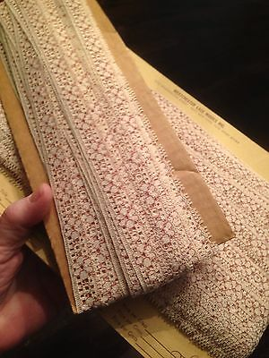 "2 Cards VTG. Antique LACE TRIM Edging MANY YDS. Long 5/8"" Wide Machine Made NICE"