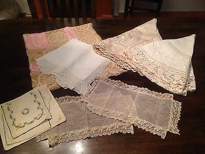 LOT VTG. HAND EMBR. TABLECLOTHS TOPPERS Plus Lace Tablecloths ODDS/ENDS 9 Total