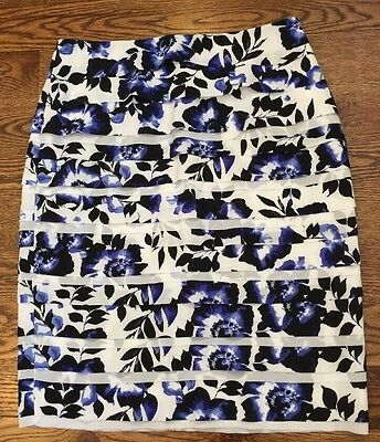 NWT White House Black Market SZ 10 Floral Layered Pencil Skirt Blue White New