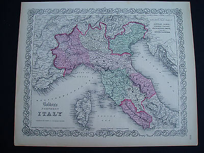 1855 Colton Atlas Map Northern and Central Italy Rome Genuine Antique