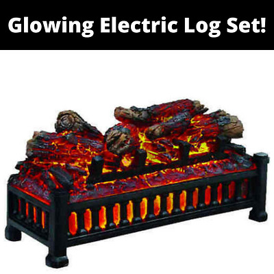 Glowing Electric Log Set Realistic FIREPLACE LED Crackling Sound Gives Ambience