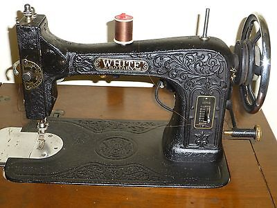 Antique White  Sewing Machine And Cabinet