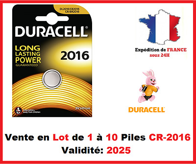 Lot de 1 à 10 Pile CR-2016 / DL-2016 DURACELL bouton Lithium 3V DLC 2026
