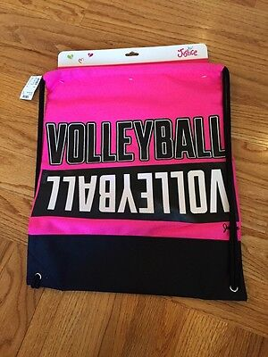 NWT Volleyball Cinch Sack Justice Backpack Pink Shimmer
