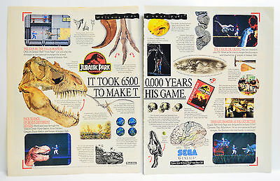 Jurassic Park by For Sega Genesis 1993 vintage video game two-page Print Ad