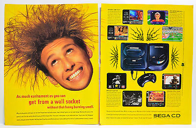 Sega CD system 1993 vintage video game two-page Print Ad